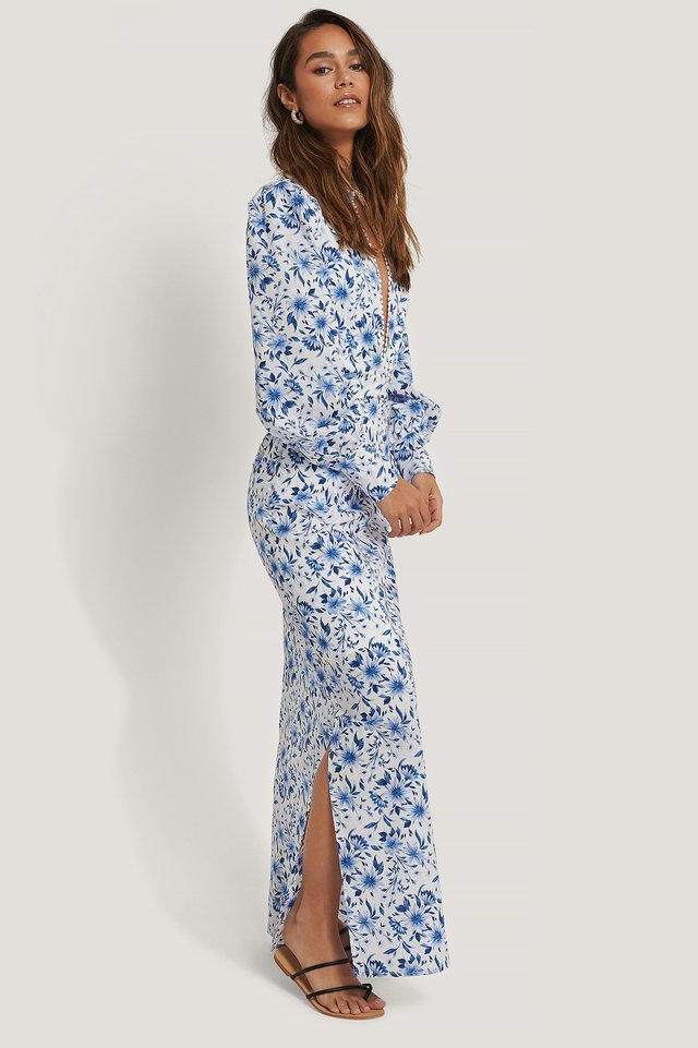 Deep V-neck Flower Print Maxi Dress
