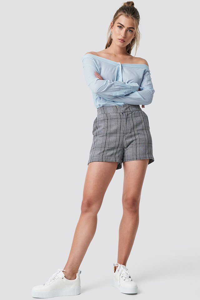 Slip Shoulder Shirt with High Rise Shorts