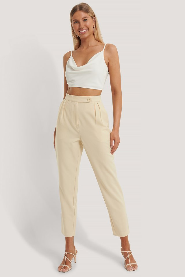 Pleated One Button Pants