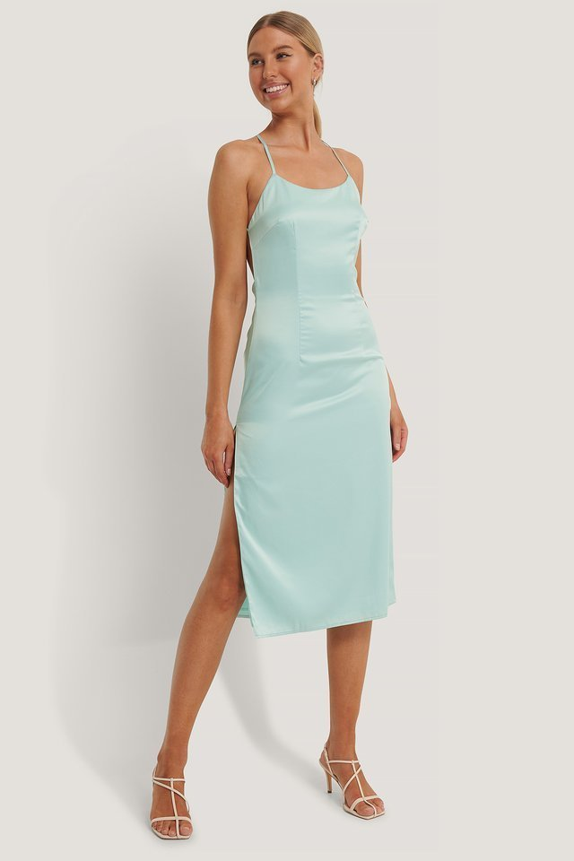 Satin Midi Cross Back Dress