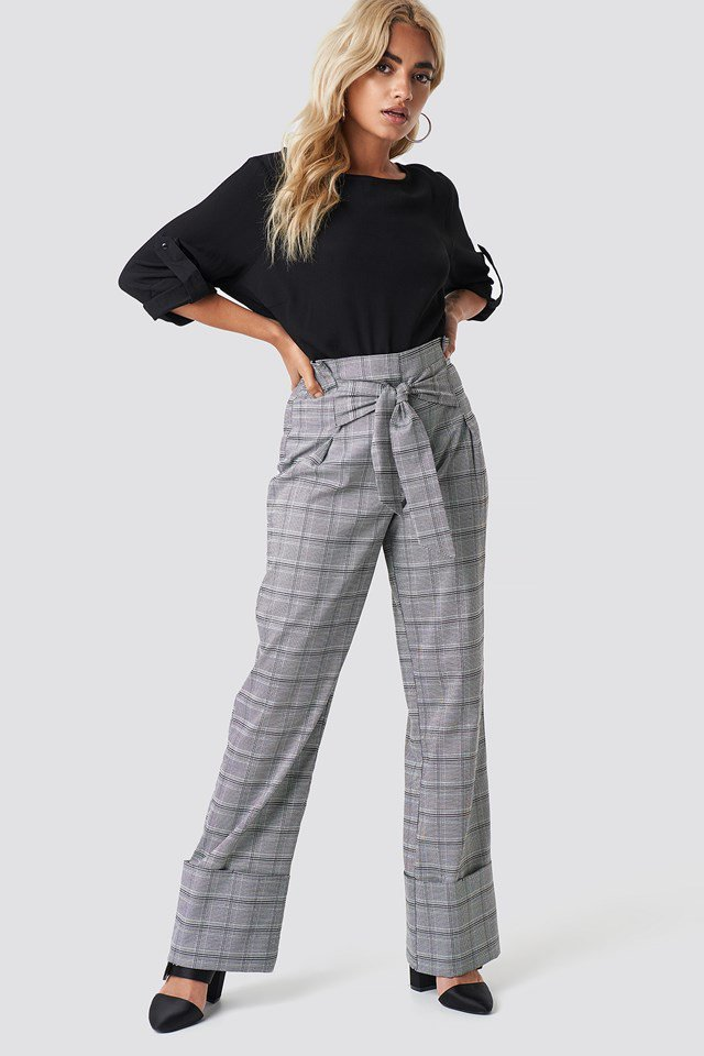 Roll Up Blouse with Wide Leg Trousers