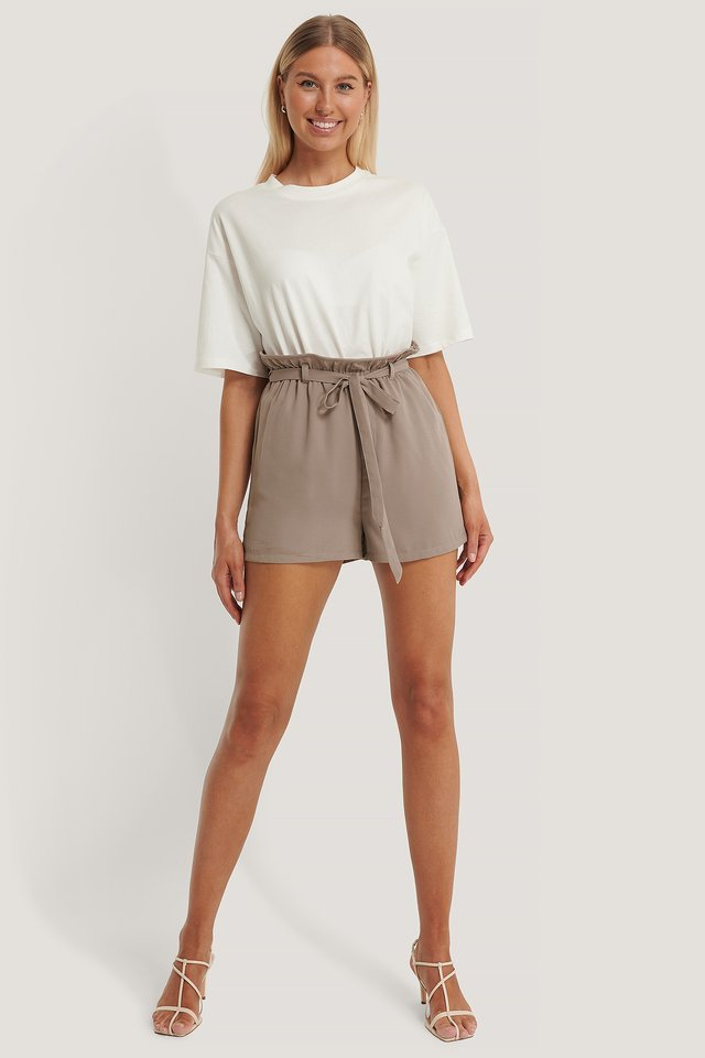High Waist Thin Belt Shorts