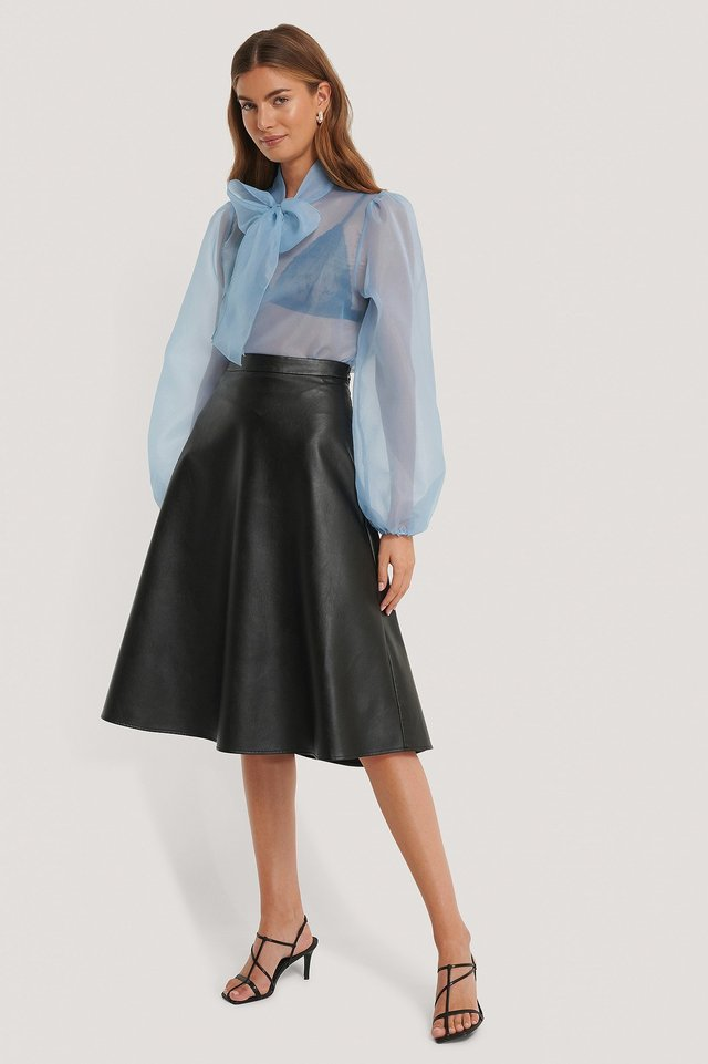 Organza Tie Neck Blouse Outfit