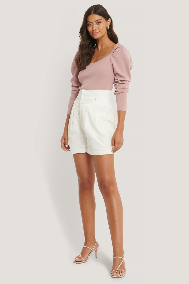 Dusty Pink Light Knitted Puff Sleeve Sweater