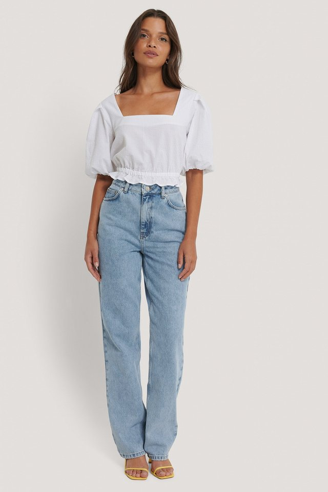 White Cropped Seersucker Top