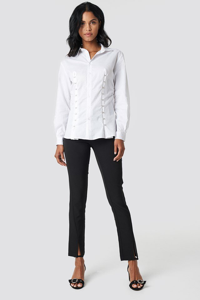 White Shirt with Front Detail Pants