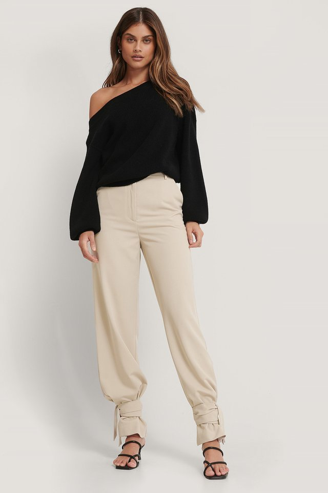 High Waist Tie Suit Pants