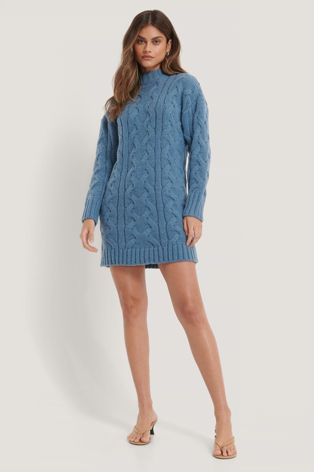 Pattern Knitted Sweater Dress