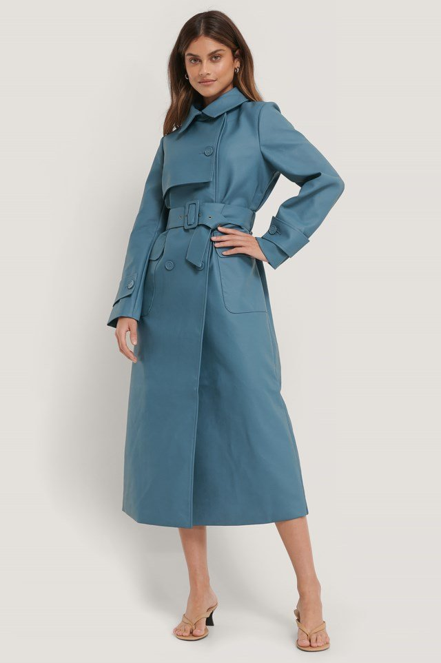 Long PU Trench Coat