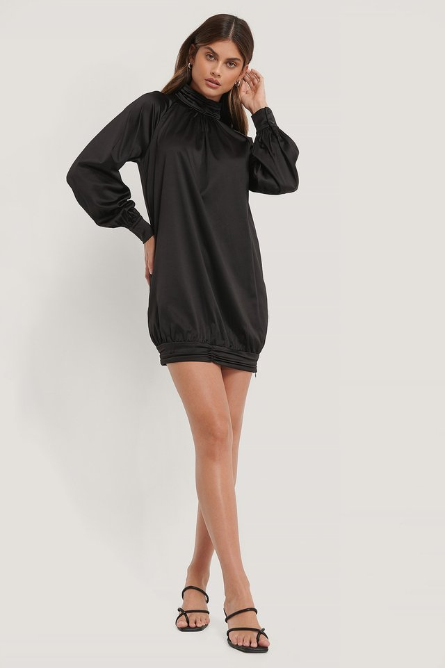 Satin Long Sleeve Mini Dress