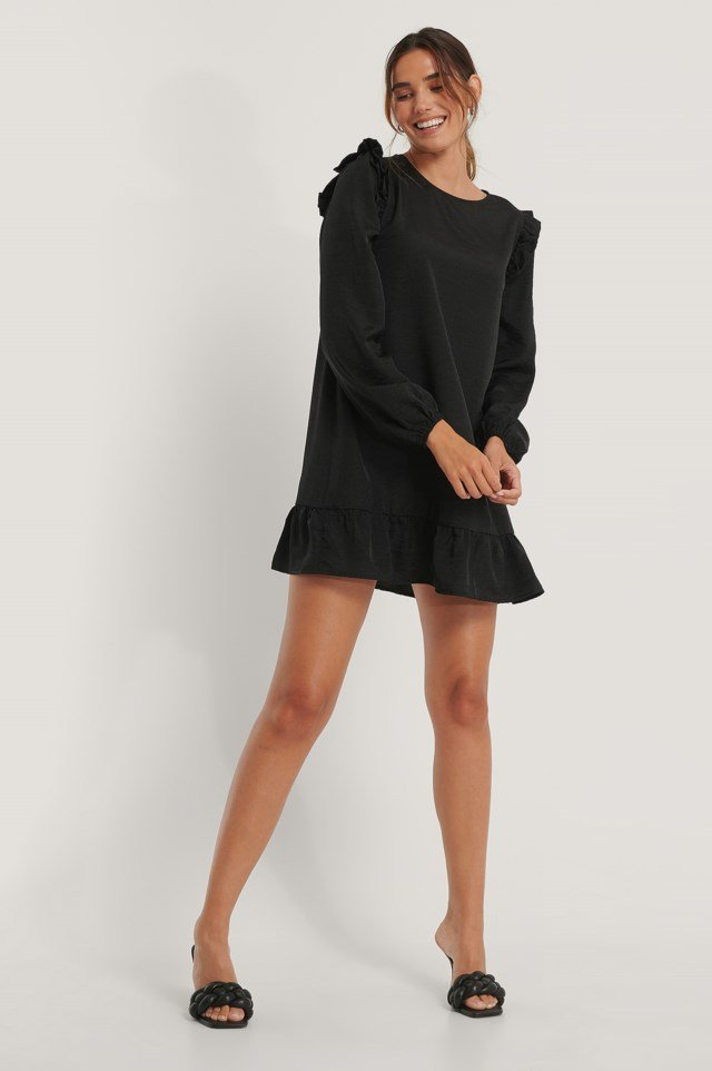 Shoulder Flounce Mini Dress