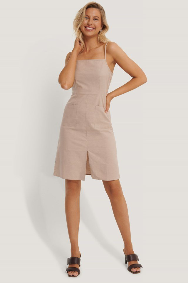 Linen Look Strap Pocket Dress