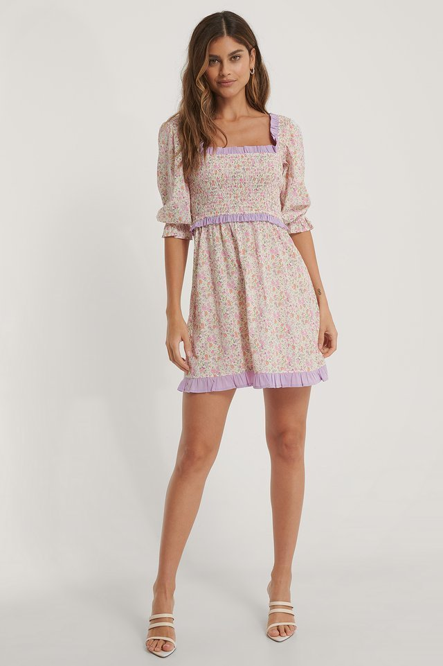 Smock Square Neck Mini Dress