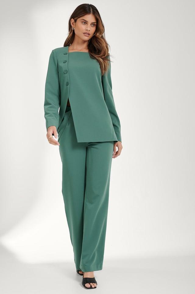 Slit Asymmetric Blazer Outfit