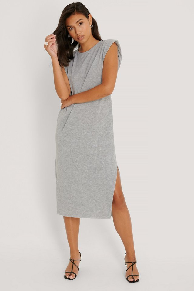 Padded Shoulder Midi Dress