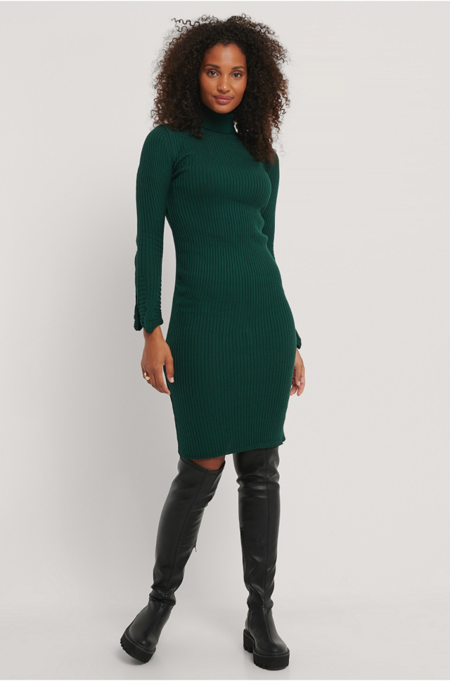 Cuffed Knit Mini Dress