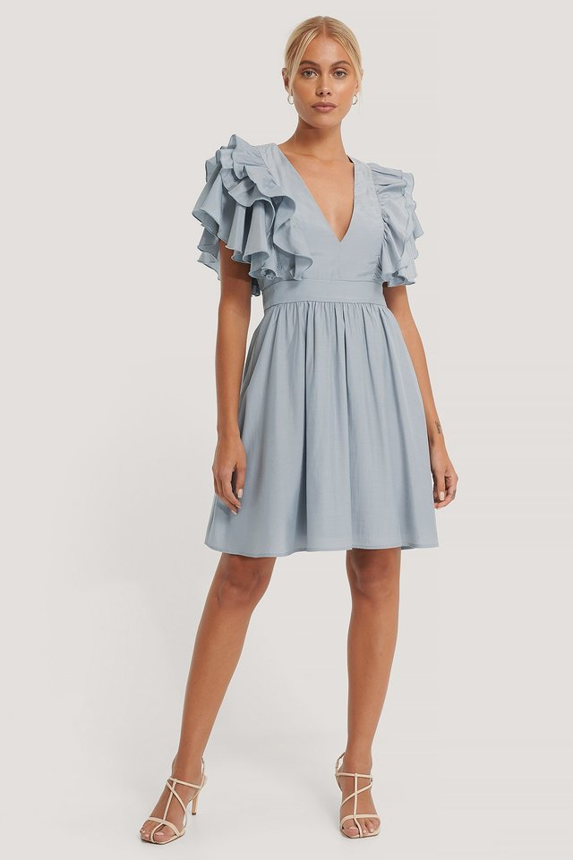 Deep V-neck Ruffle Dress