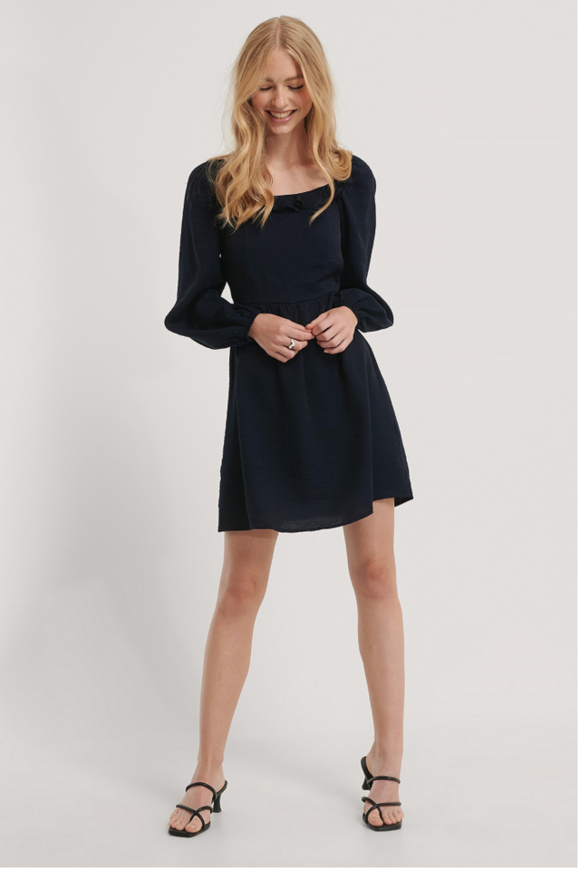 Collar Detailed Mini Dress