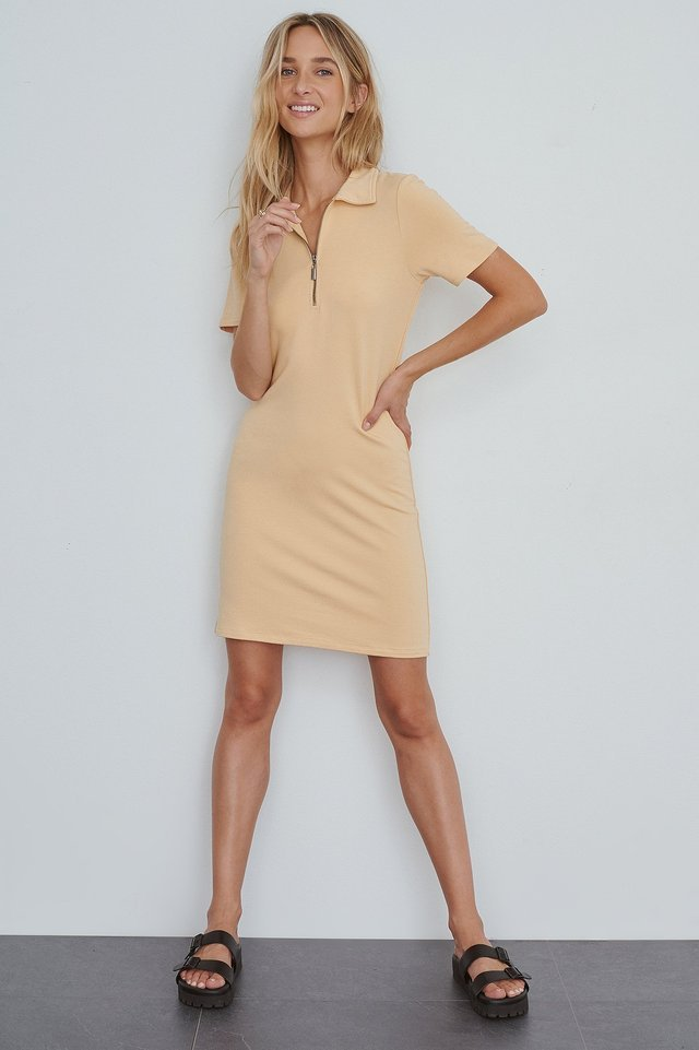 Zip Collar Mini Dress