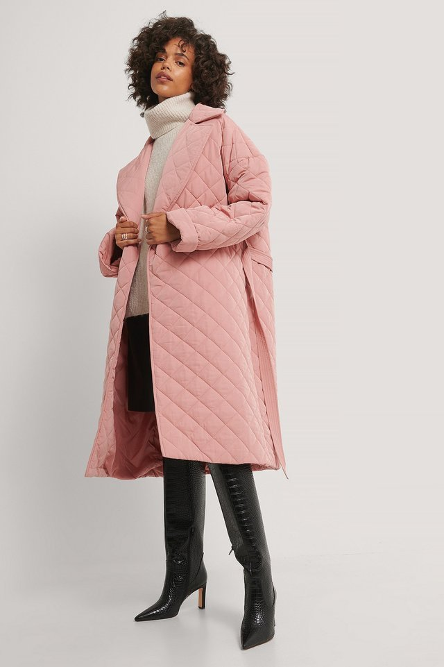 Back Slit Quilted Coat