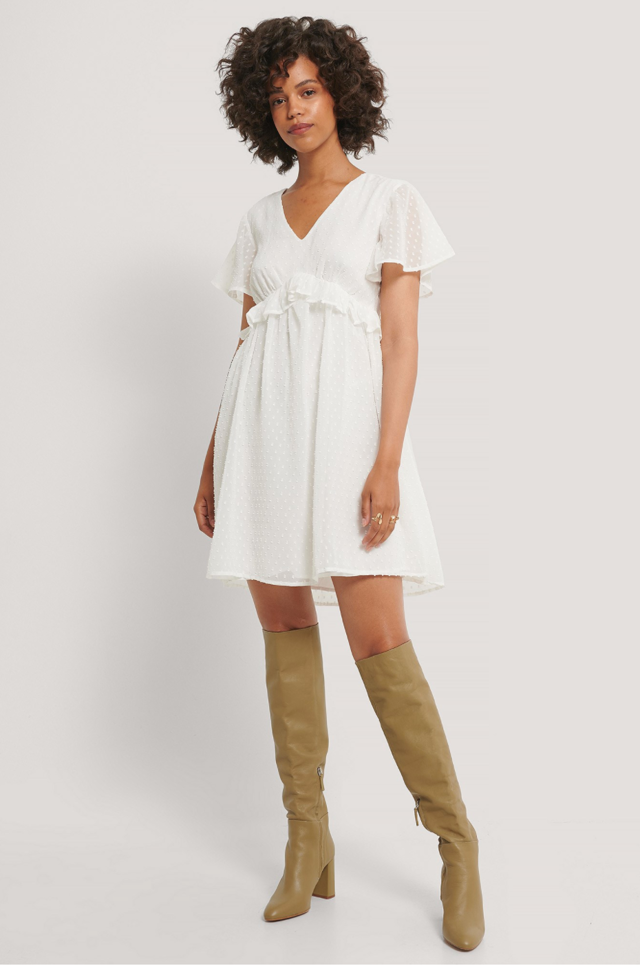 Dobby Short Sleeve Flounce Dress