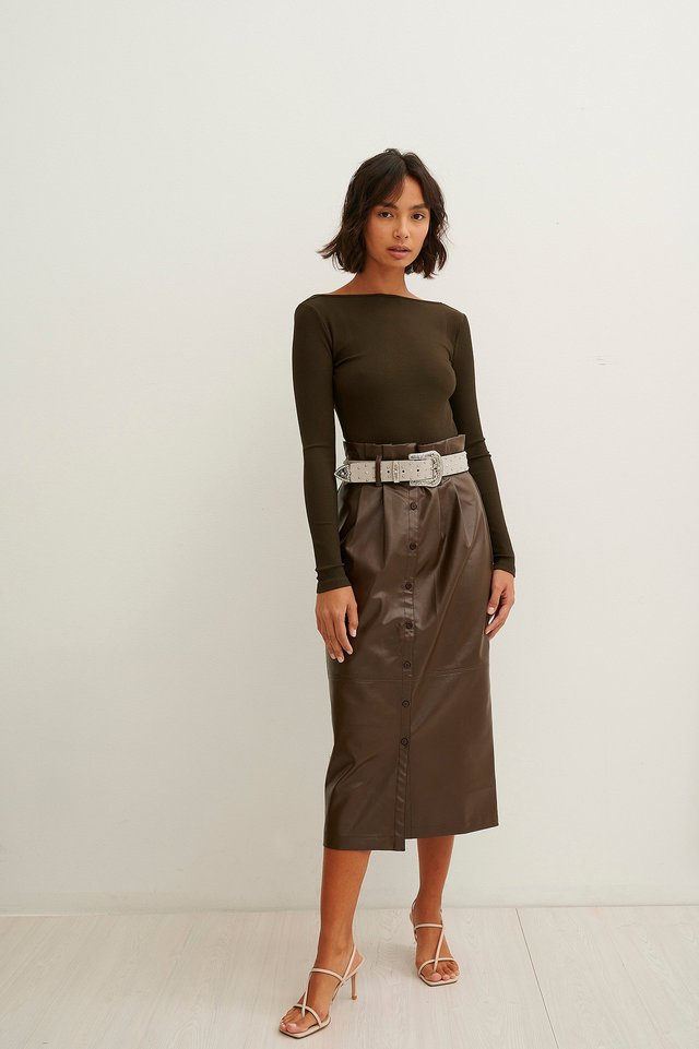 Paperwaist Pu Midi Skirt