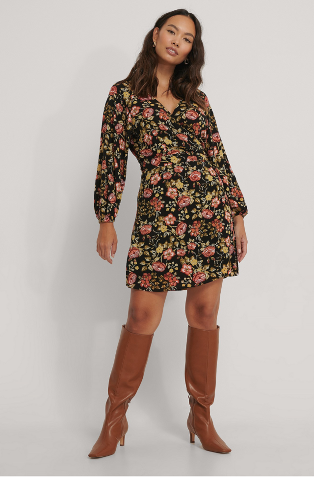 Tie Overlap Mini Dress