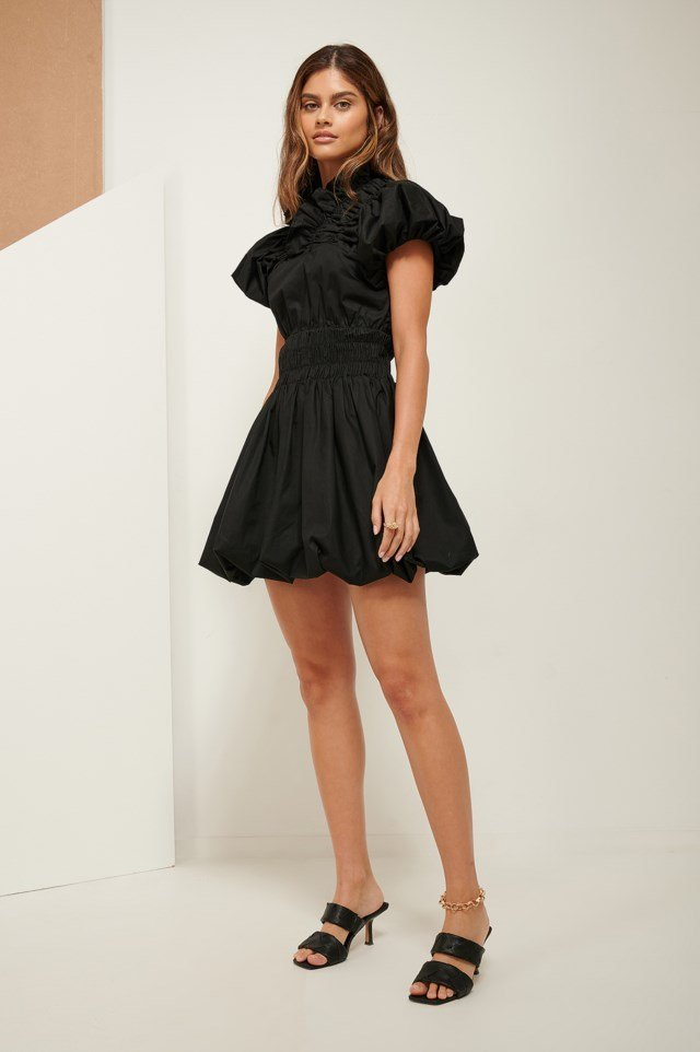 Ruffle Neck Mini Dress