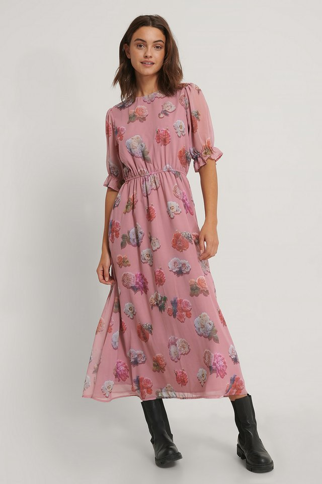 Short Sleeve Flower Printed Chiffon Dress