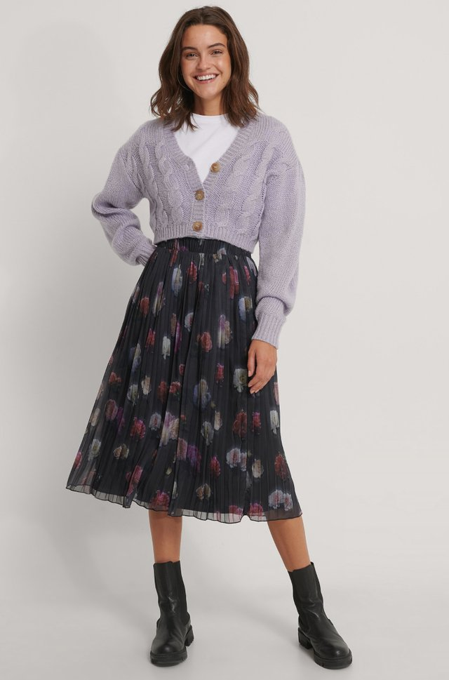 Pleated Flower Printed Chiffon Skirt