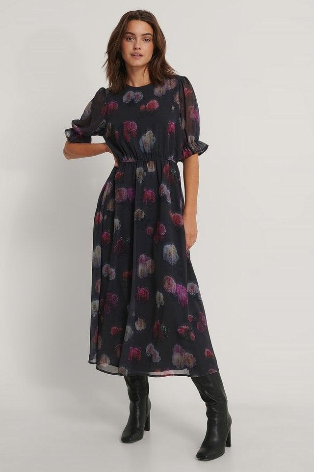 Short Sleeve Flower Printed Chiffon Dress