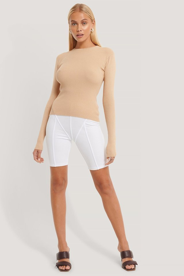 Ribbed Knitted Round Neck Sweater