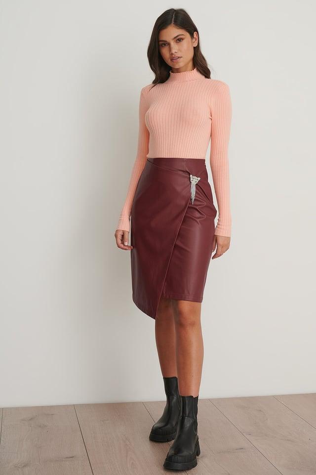 PU Brooch Skirt