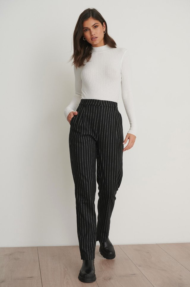 Pinstriped Back Slit Suit Pants