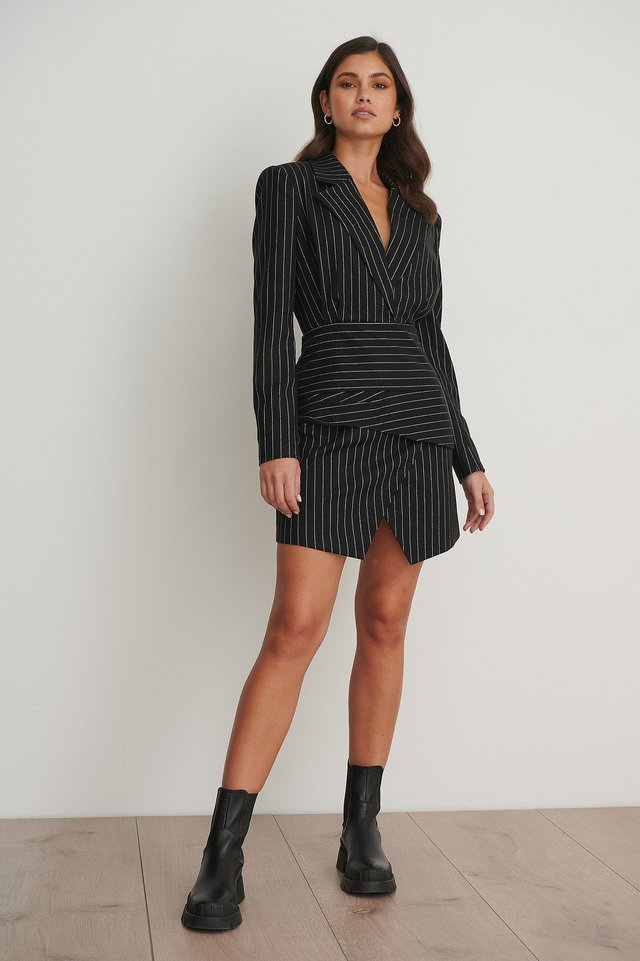 Pinstriped Draped Blazer Dress