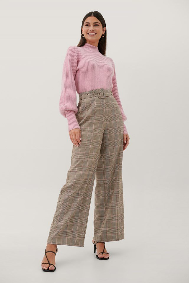 Buckle High Waist Suit Pants