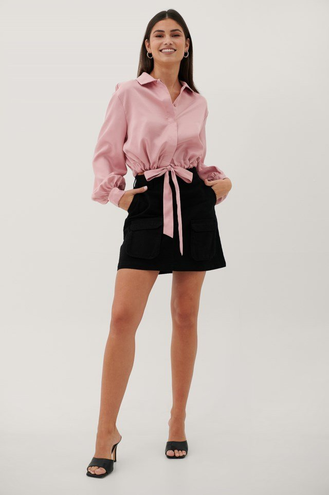Satin Balloon Sleeve Blouse