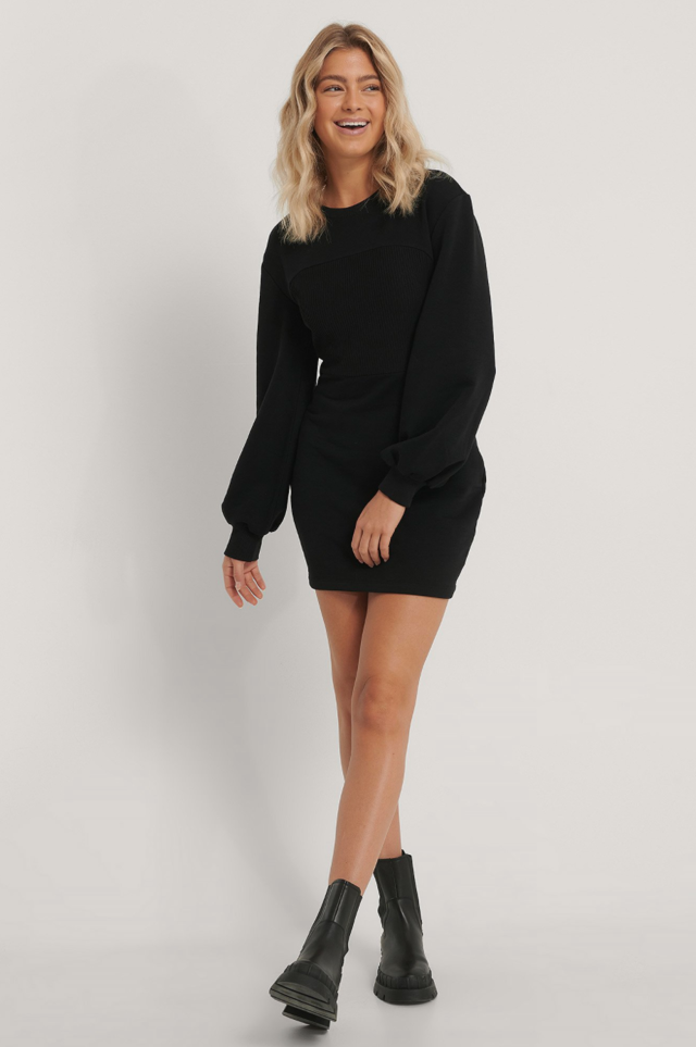 Ribbed Detail Jersey Dress
