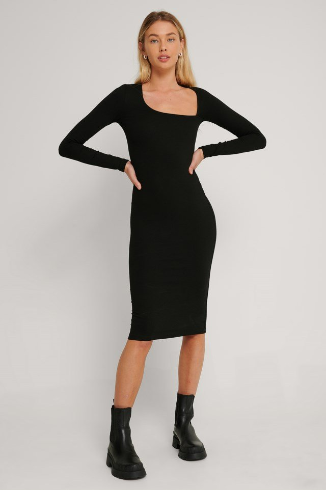 Cut Detail Long Sleeve Dress