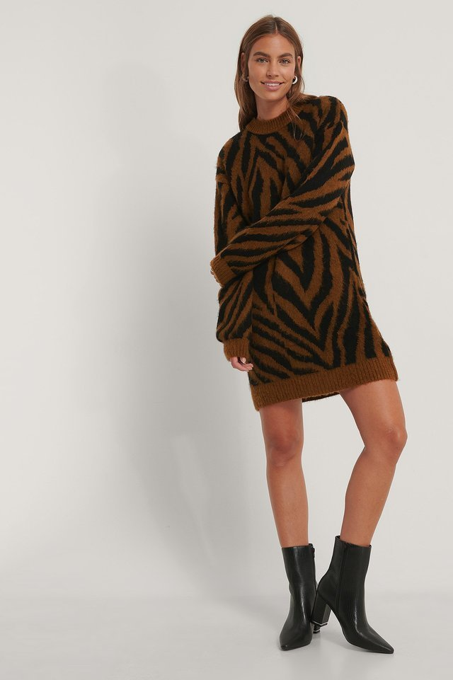 Zebra Knitted Dress