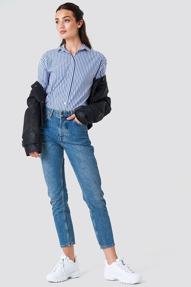 High Waist Jeans and Stripes Shirt Outfit