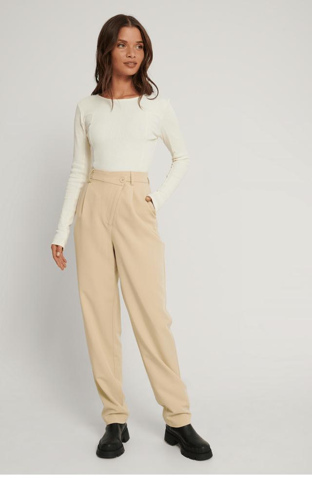 Beige Mid Rise Suit Pants