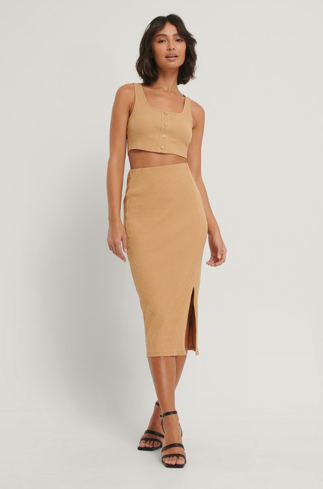 Ribbed Jersey Slit Skirt