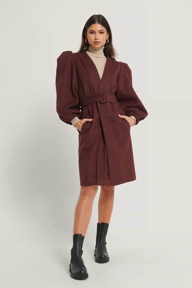 Volume Sleeve Wool Coat