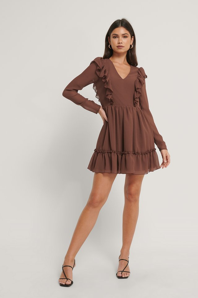 V-neck Frill Mini Dress