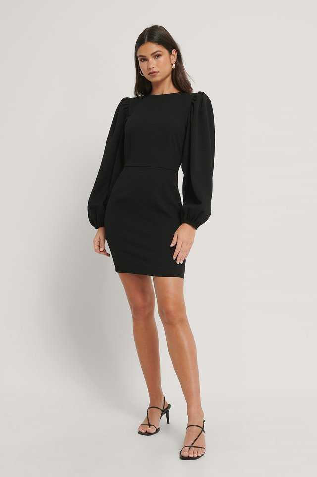 Volume Sleeve Structured Dress