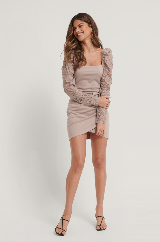 Lace Arms Overlap Dress