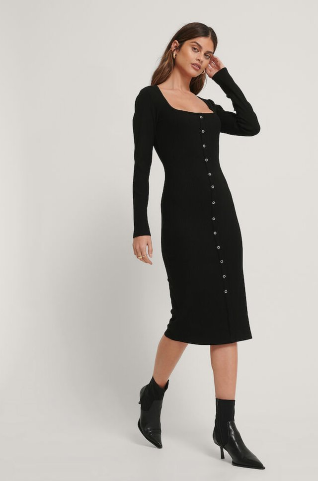 Square Neck Front Button Midi Dress