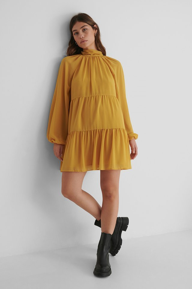 Open Back Frill Chiffon Dress