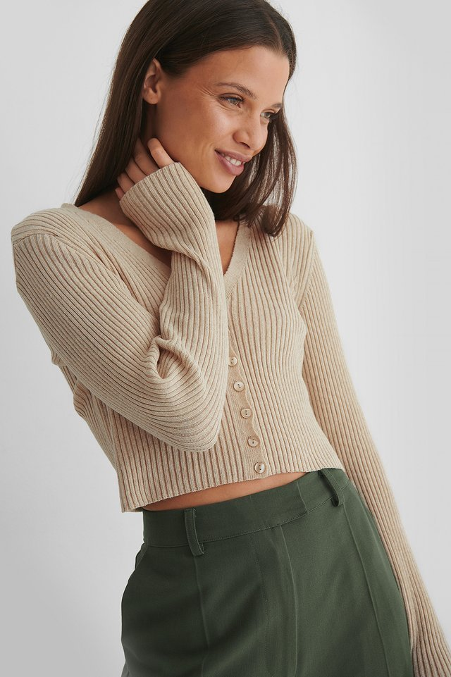 Front Button Knitted Sweater